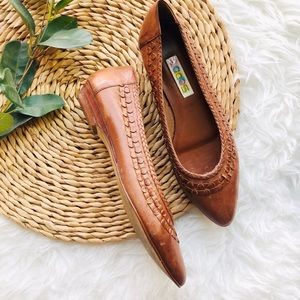 Vintage Leather Textured Flats Size 8.5